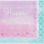 Iridescent Mermaid Party Happy Birthday Luncheon Napkins 192 ct