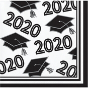 Class of 2020 White Graduation Beverage Napkins 360 ct
