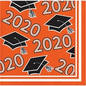 Class of 2020 Orange Graduation Beverage Napkins 360 ct