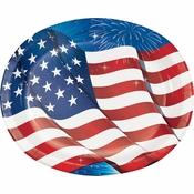 Fireworks & Flags Oval Plates 96 ct