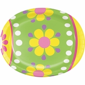 Colorful Easter Egg Oval Plates 96 ct