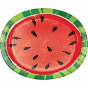 Juicy Watermelon Oval Plates 96 ct