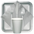 Touch of Color Shimmering Silver Bulk Plastic Spoons in quantities of 50 / pkg, 12 pkgs / case