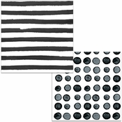 Black Licorice Dots and Stripes Luncheon Napkins 192 ct