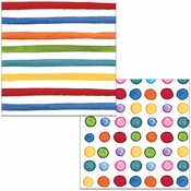 Multicolor Dots and Stripes Luncheon Napkins 192 ct