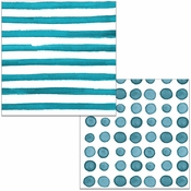 Peacock Blue Dots and Stripes Luncheon Napkins 192 ct