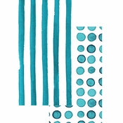 Peacock Blue Dots and Stripes Guest Towels 192 ct