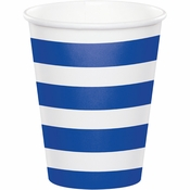 Cobalt Blue Polka Dots and Stripes Paper Cups 96 ct