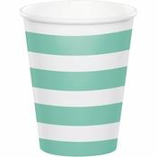 Mint Green Polka Dots and Stripes Paper Cups 96 ct