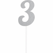 Number 3 Silver Glitter Cake Toppers 12 ct