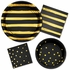 Black and Gold Foil Striped Luncheon Napkins 192 ct