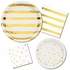 White and Gold Foil Striped Luncheon Napkins 192 ct