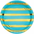 Bermuda Blue and Gold Foil Striped Dinner Plates 96 ct