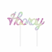 Iridescent Party Hooray Cake Toppers 12 ct