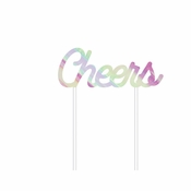 Iridescent Party Cheers Cake Toppers 12 ct