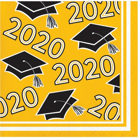 Class of 2020 Yellow Graduation Beverage Napkins 360 ct