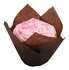 Solid brown colored greaseproof paper Small Chocolate Tulip Cup 2500 ct bulk case with 10/pkg, 250 pkgs/case.