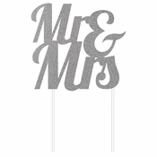 Silver Glitter Mr & Mrs Cake Toppers 12 ct