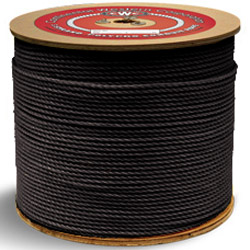 """Continental Western 5/16"""" x 600' Black 3 Strand Polypro Rope 301075"""