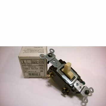 Leviton 20-A 2 Pole Ivory Grounding D.P. Toggle Switch 5522-2IS