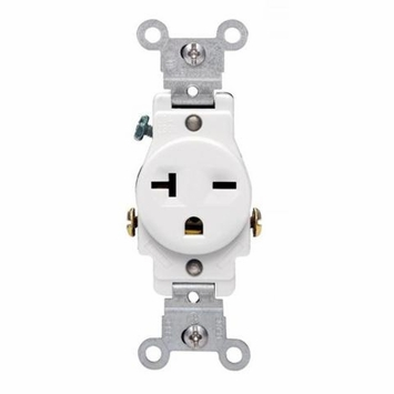 Leviton White Commercial Single Outlet Receptacle 20A 250V 5821-WS