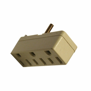 Leviton Ivory Three Outlet Tri Tap Adapter (3 Prong) 001-697-I