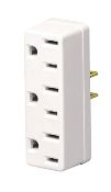 Leviton White 2 to 3 Wire Tri Tap Outlet Adapter 002-698-W