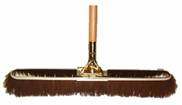 "Bruske 17"" Brown Coarse Bristle Broom W/ Wood Handle (Pack of 12) 2172"