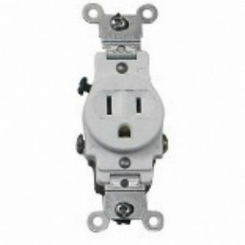 Leviton White Side Wired 15Amp 125V Single Receptacle 5015-WSP