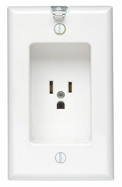 Leviton Single Receptacle White Recessed Clock Outlet 688-W