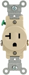 Leviton Ivory 20 Amp Single Outlet 2-Pole, 3-Wire Grnd. Outlet 5801-ISP