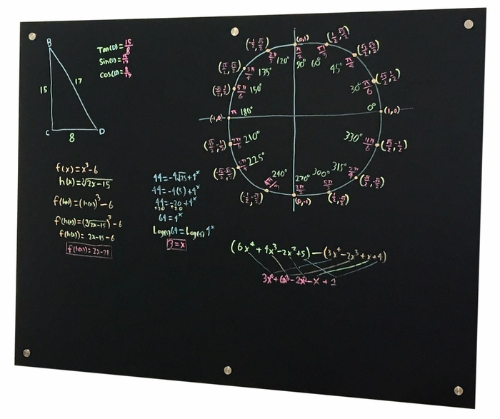 "Pegasus Magnetic Anti-Glare Glass Black Marker Board 60"" x 48"" 
