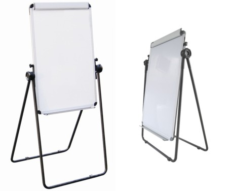"Portable Adjustable Reversible Easel with Two-Sided 24"" x 36"" Magnetic White Enamel Coated Steel Whiteboard surface with Flipchart Holder"