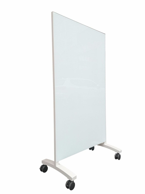 "Mobile Magnetic Glass Whiteboard 60"" x 48"" 