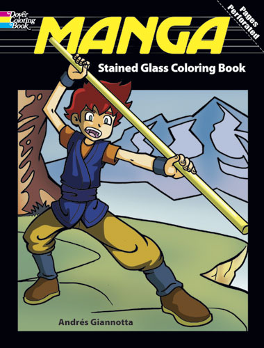 Manga Stained Glass Coloring Book