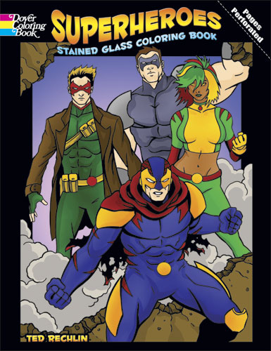 Superheroes Stained Glass Coloring Book