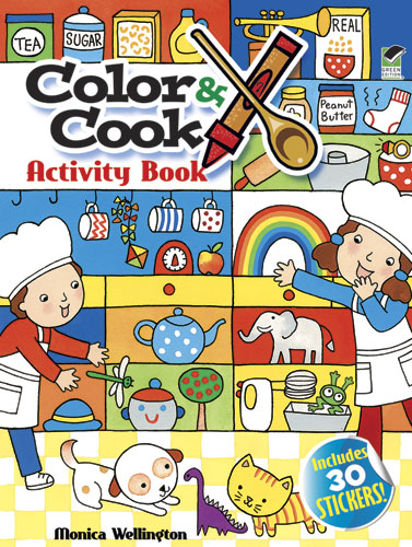 Color & Cook Activity Book with 30 Stickers!