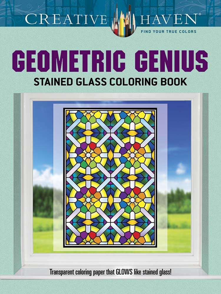 Creative Haven Geometric Genius Stained Glass Coloring Book