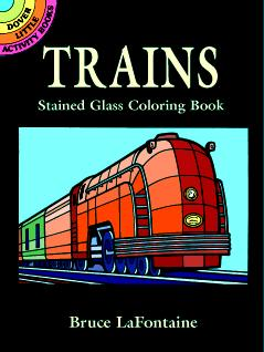 Trains Stained Glass Coloring Book