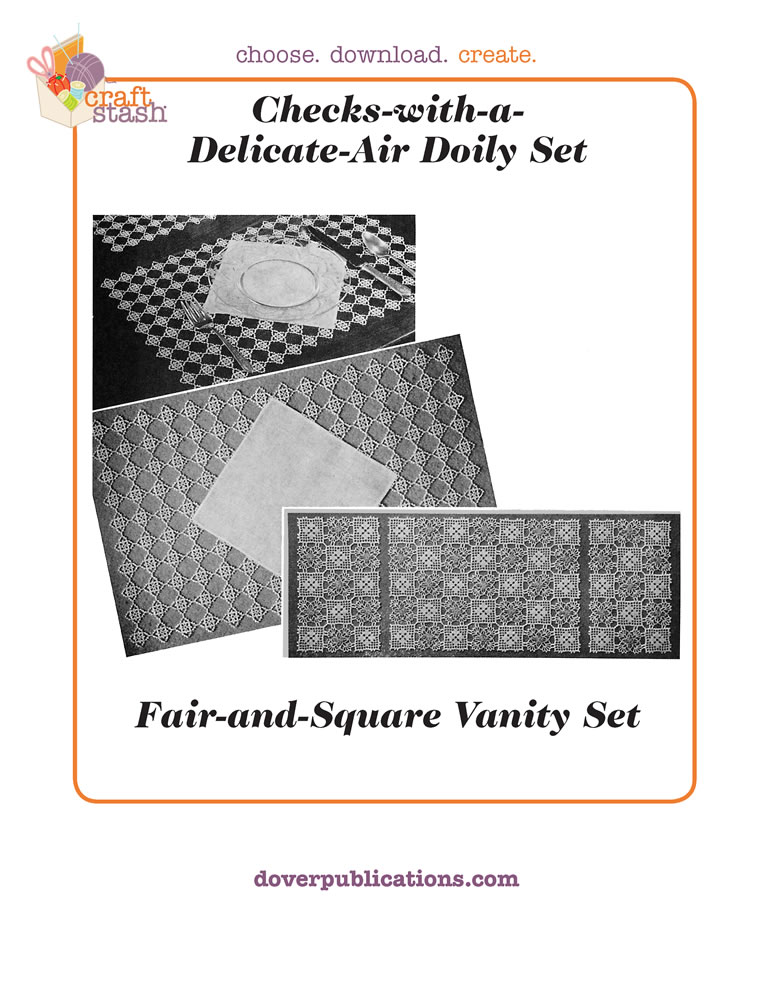 Checks with a Delicate Air Doily Set/Fair and Square Vanity Set (digital pattern)