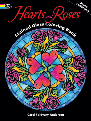 Hearts and Roses Stained Glass Coloring Book