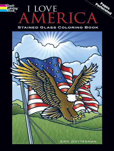 I Love America Stained Glass Coloring Book