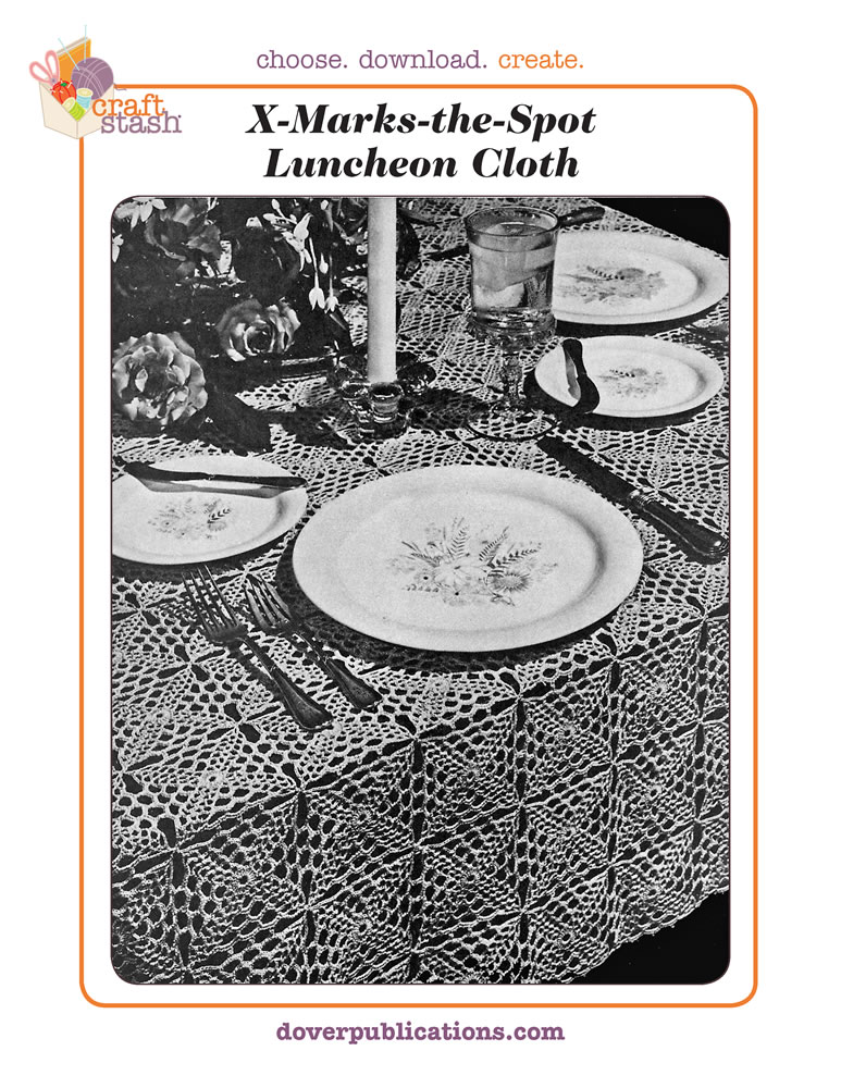 X Marks the Spot Luncheon Cloth (digital pattern)