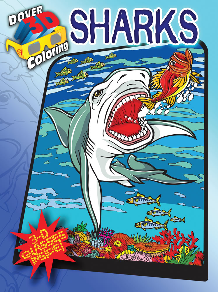 3-D Coloring Book--Sharks