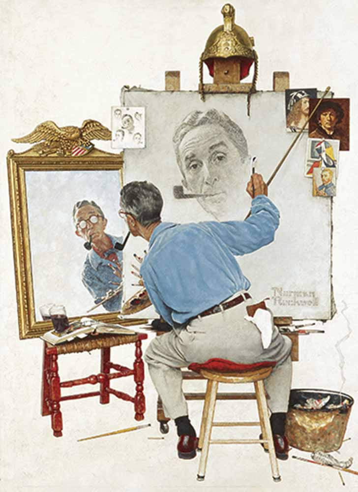 Norman Rockwell's Triple Self-Portrait from The Saturday Evening Post Notebook