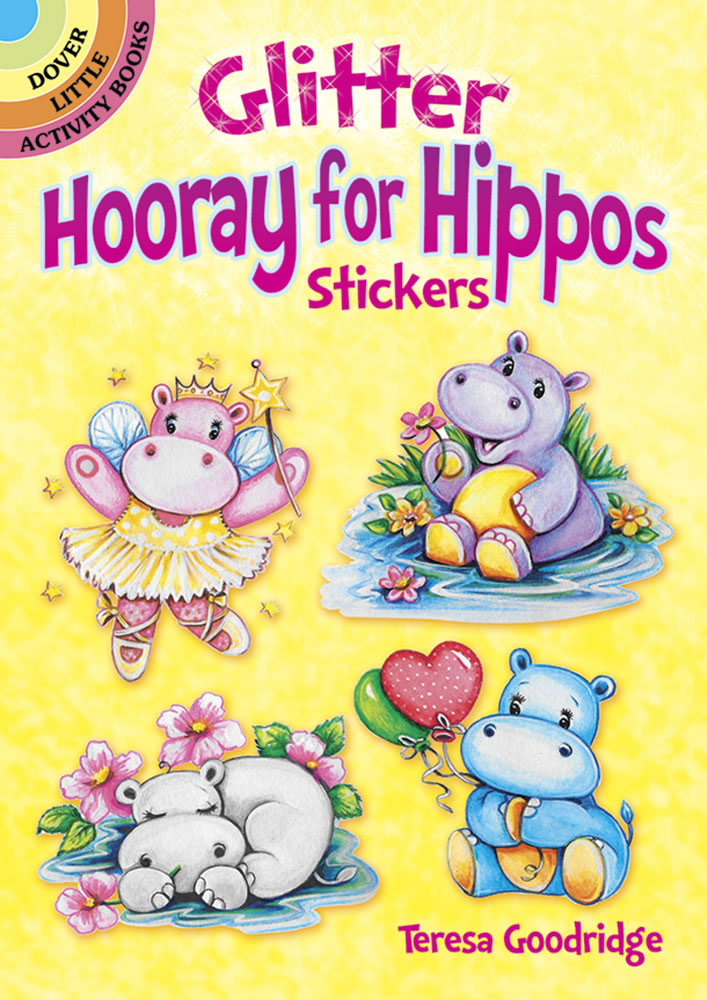 Glitter Hooray for Hippos Stickers
