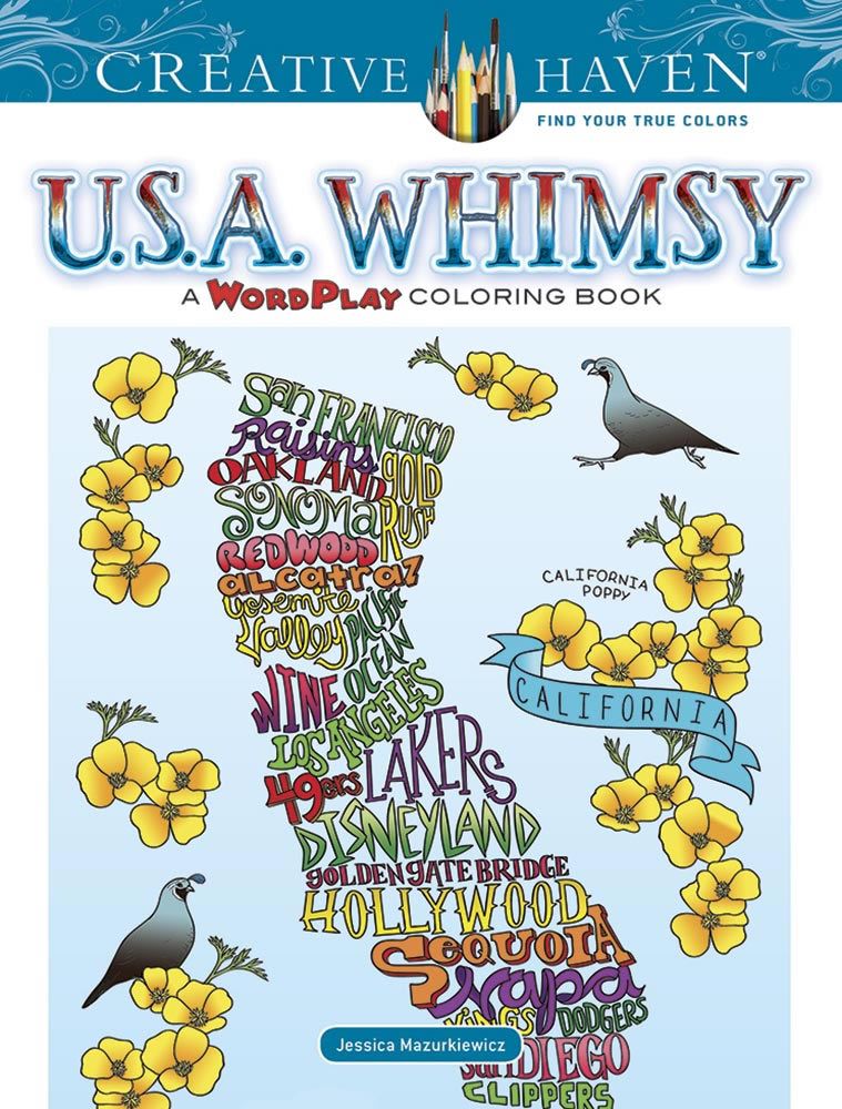 Creative Haven U.S.A. Whimsy: A WordPlay Coloring Book