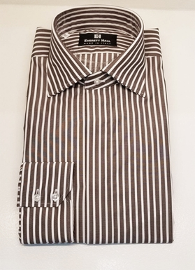 Brown & White Stripe Dress Shirt