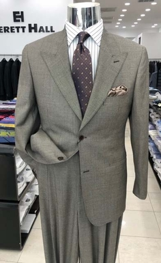 Taupe Nailhead Wool Suit