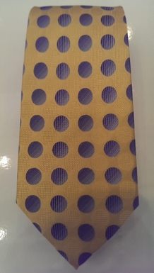 Gold and Blue Large Textured Dot Silk Tie